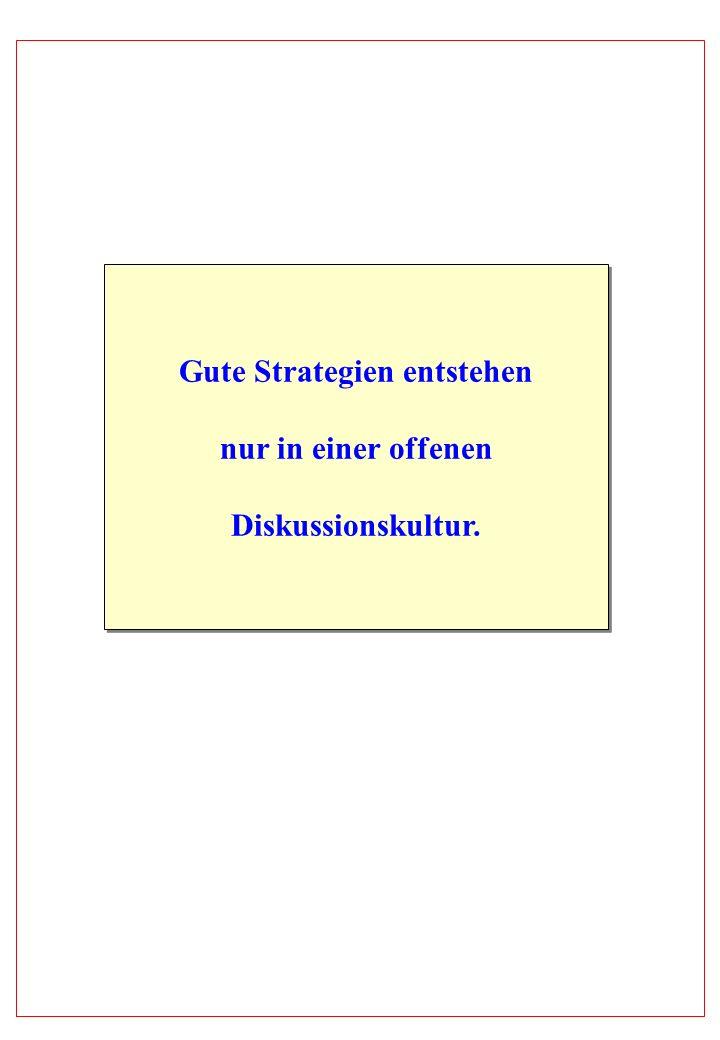 Gute Strategien entstehen nur in einer offenen Diskussionskultur. Gute Strategien entstehen nur in einer offenen Diskussionskultur.