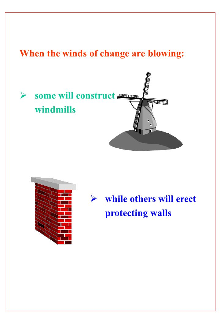 When the winds of change are blowing: some will construct windmills while others will erect protecting walls