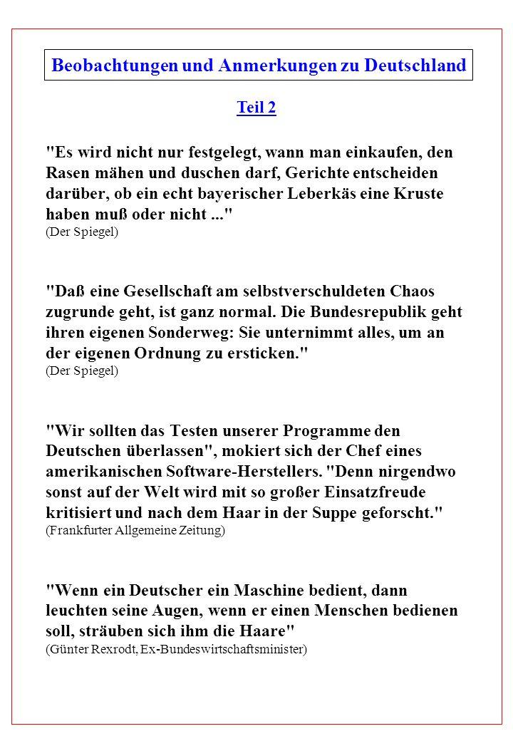 Beobachtungen und Anmerkungen zu Deutschland Teil 2