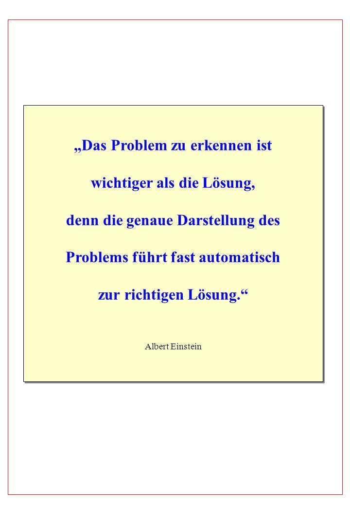 Das Problem zu erkennen ist wichtiger als die Lösung, denn die genaue Darstellung des Problems führt fast automatisch zur richtigen Lösung. Albert Ein