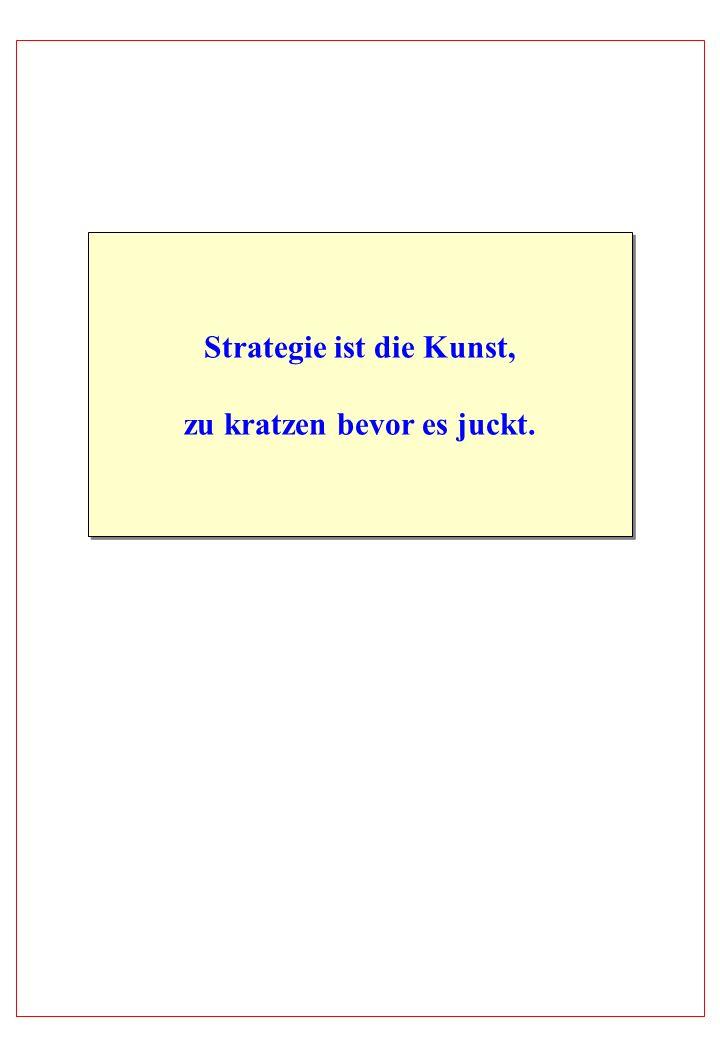 Strategie ist die Kunst, zu kratzen bevor es juckt. Strategie ist die Kunst, zu kratzen bevor es juckt.