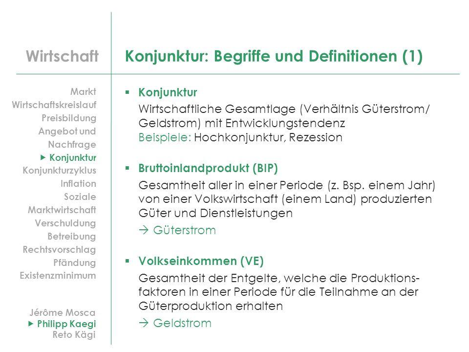 Wirtschaft Konjunktur: Begriffe und Definitionen (1) Konjunktur Wirtschaftliche Gesamtlage (Verhältnis Güterstrom/ Geldstrom) mit Entwicklungstendenz