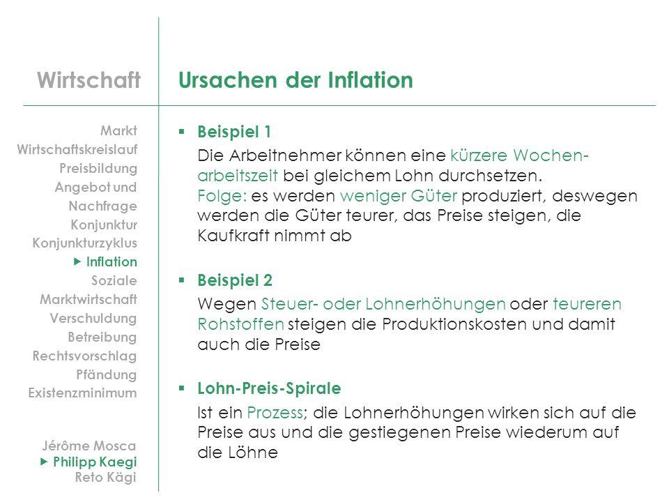 Wirtschaft Ursachen der Inflation Beispiel 1 Die Arbeitnehmer können eine kürzere Wochen- arbeitszeit bei gleichem Lohn durchsetzen. Folge: es werden