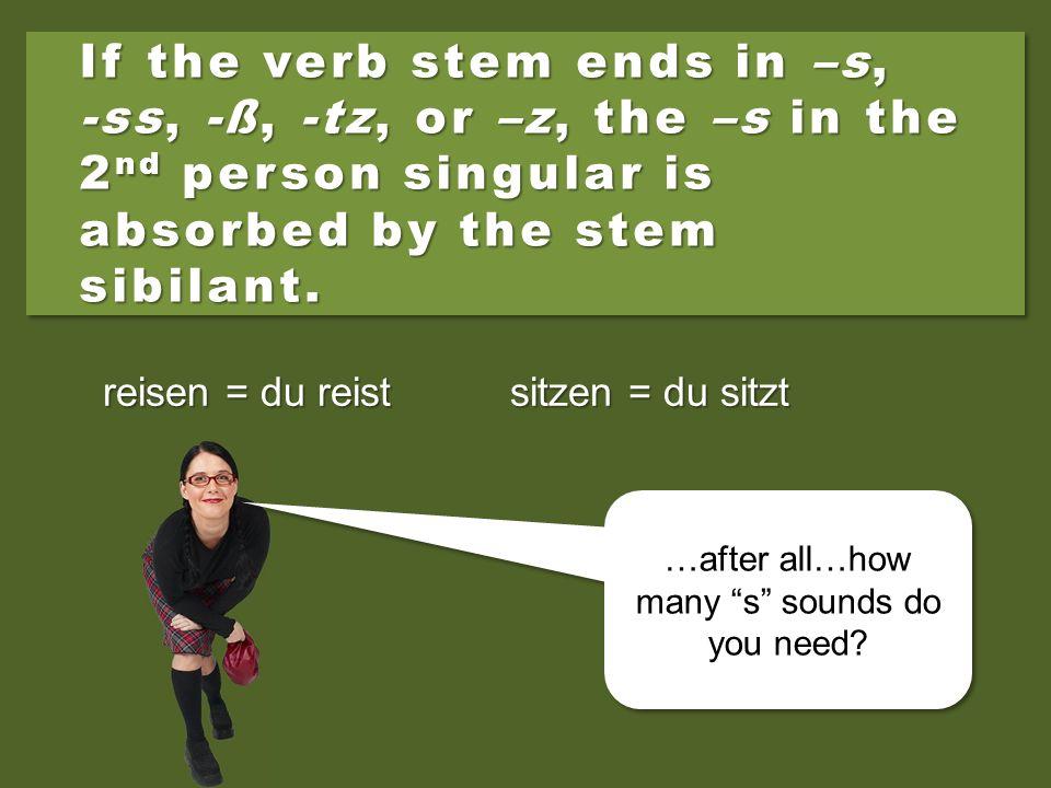 PersonPronounVerb: öffnen 1 st singularich 2 nd singulardu 3 rd singularer/sie/es 1 st pluralwir 2 nd pluralihr 3 rd pluralsie Formal (s&pl) Sie
