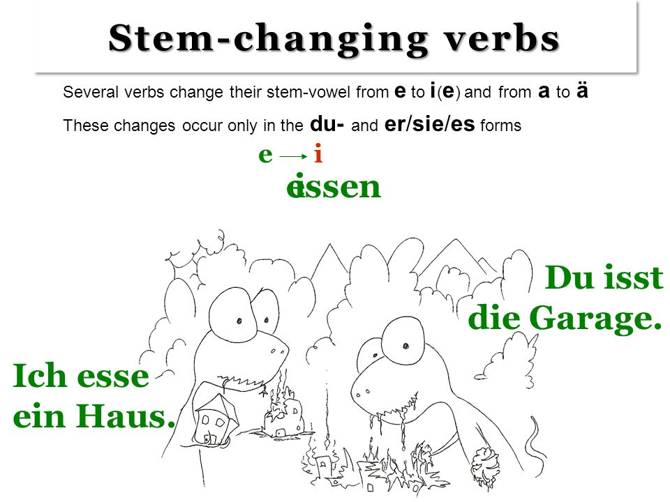 Those verbs are weak! I want to know about STRONG verbs --- with vowel changes in the stem! Those verbs are weak! I want to know about STRONG verbs --