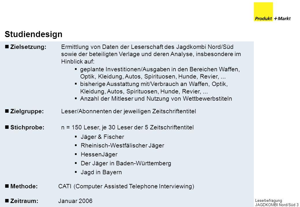 Leserbefragung JAGDKOMBI Nord/Süd3 Studiendesign Zielsetzung:Ermittlung von Daten der Leserschaft des Jagdkombi Nord/Süd sowie der beteiligten Verlage