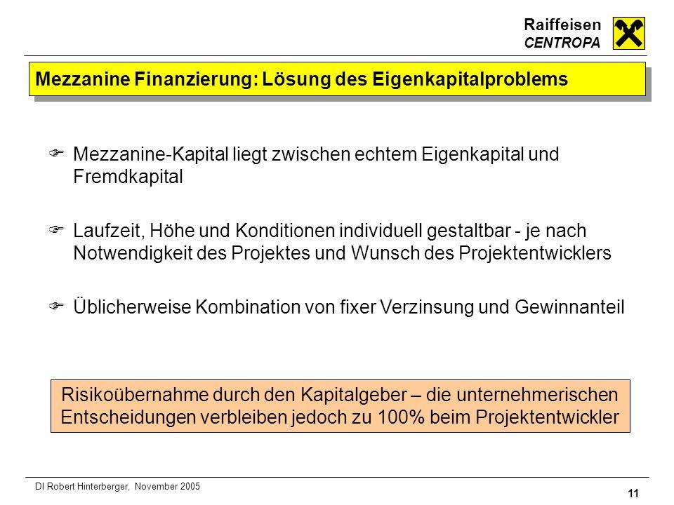 Raiffeisen CENTROPA 11 DI Robert Hinterberger, November 2005 Mezzanine Finanzierung: Lösung des Eigenkapitalproblems Mezzanine-Kapital liegt zwischen