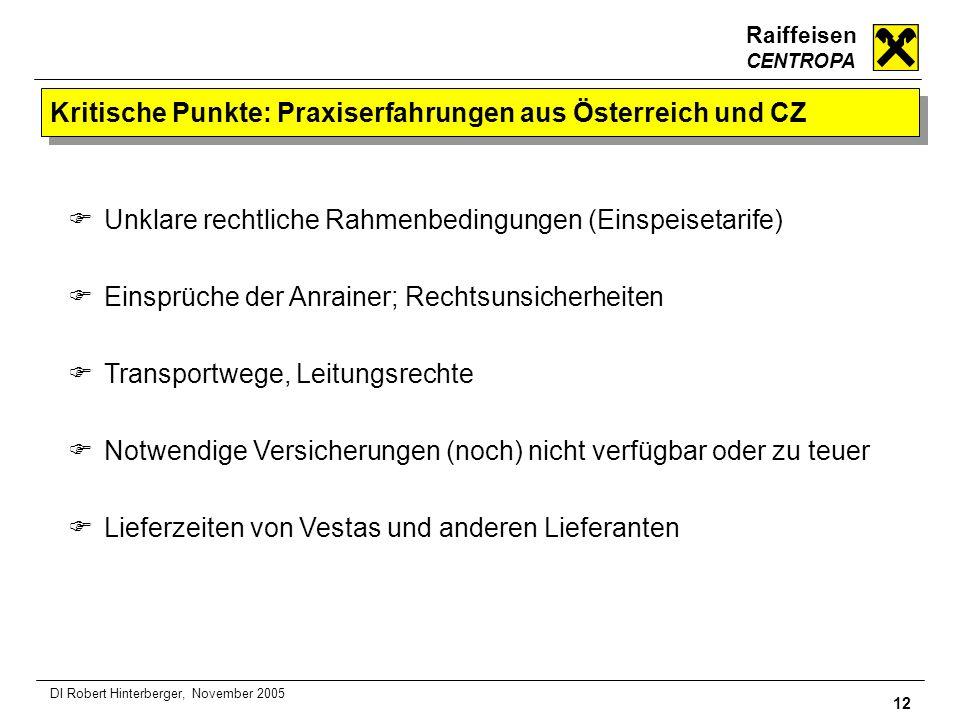 Raiffeisen CENTROPA 12 DI Robert Hinterberger, November 2005 Kritische Punkte: Praxiserfahrungen aus Österreich und CZ Unklare rechtliche Rahmenbeding