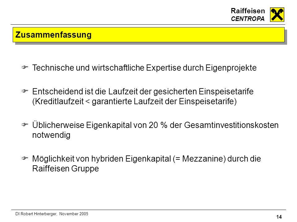 Raiffeisen CENTROPA 14 DI Robert Hinterberger, November 2005 Zusammenfassung Technische und wirtschaftliche Expertise durch Eigenprojekte Entscheidend