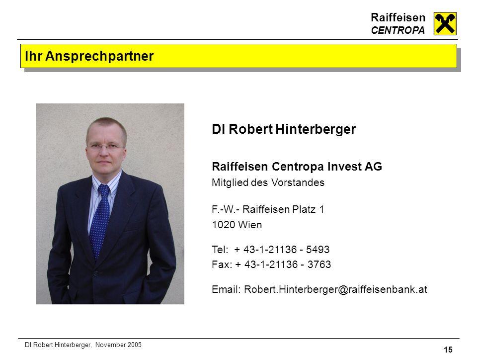 Raiffeisen CENTROPA 15 DI Robert Hinterberger, November 2005 Ihr Ansprechpartner DI Robert Hinterberger Raiffeisen Centropa Invest AG Mitglied des Vor