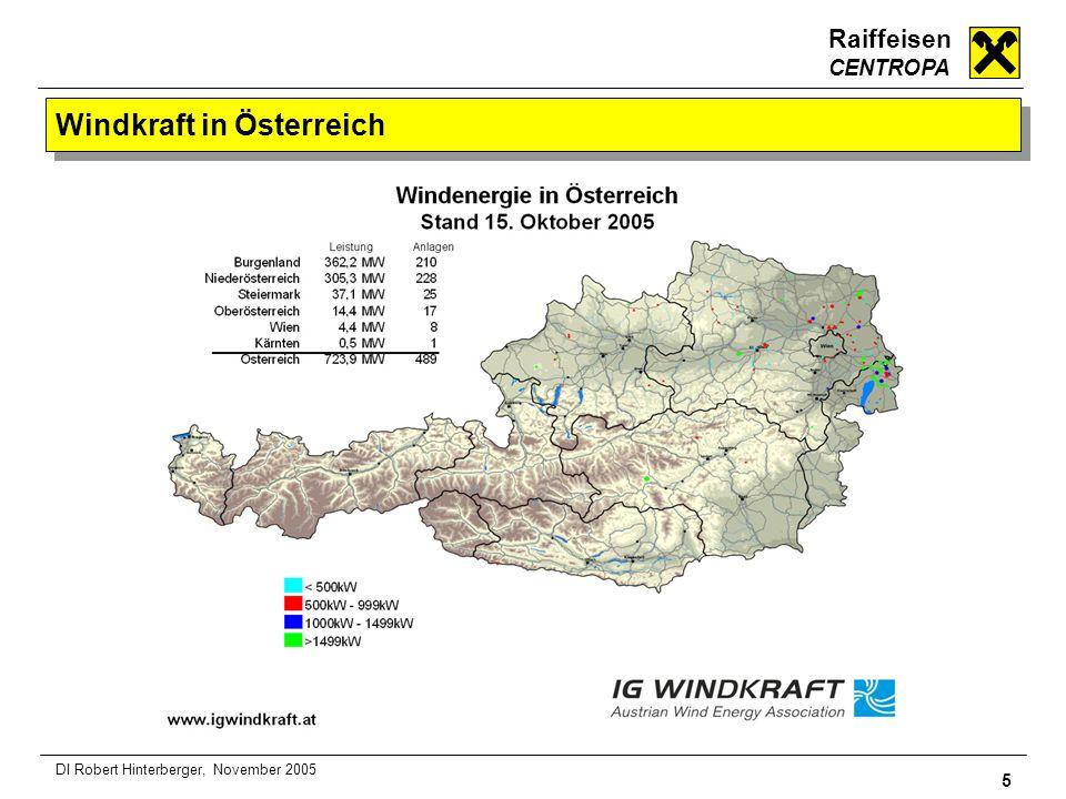 Raiffeisen CENTROPA 5 DI Robert Hinterberger, November 2005 Windkraft in Österreich