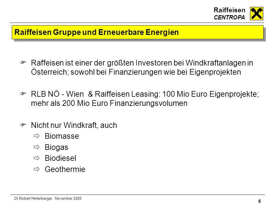 Raiffeisen CENTROPA 6 DI Robert Hinterberger, November 2005 Raiffeisen Gruppe und Erneuerbare Energien Raffeisen ist einer der größten Investoren bei