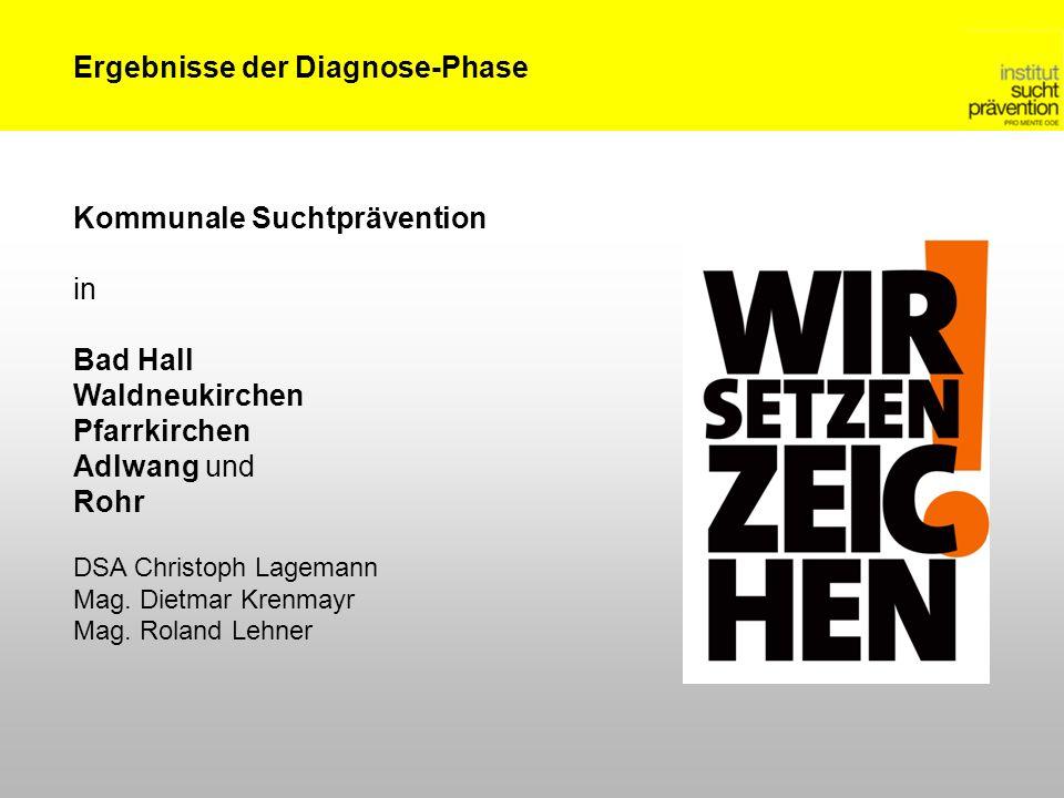 Ergebnisse der Diagnose-Phase Kommunale Suchtprävention in Bad Hall Waldneukirchen Pfarrkirchen Adlwang und Rohr DSA Christoph Lagemann Mag. Dietmar K