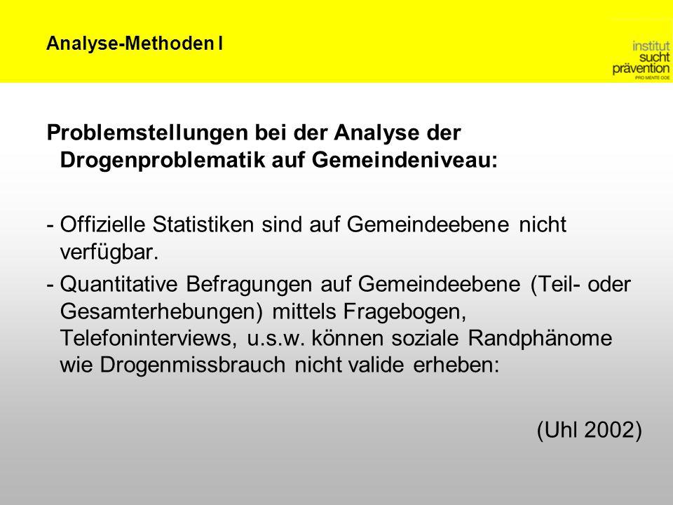 Analyse-Methoden I Problemstellungen bei der Analyse der Drogenproblematik auf Gemeindeniveau: -Offizielle Statistiken sind auf Gemeindeebene nicht ve