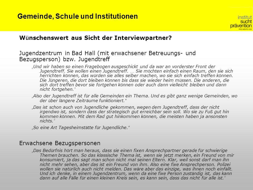 Gemeinde, Schule und Institutionen W ü nschenswert aus Sicht der Interviewpartner? Jugendzentrum in Bad Hall (mit erwachsener Betreuungs- und Bezugspe