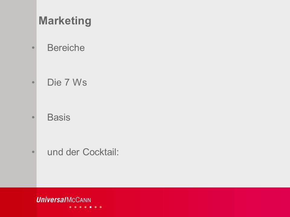 3 Marketing Bereiche Die 7 Ws Basis und der Cocktail: