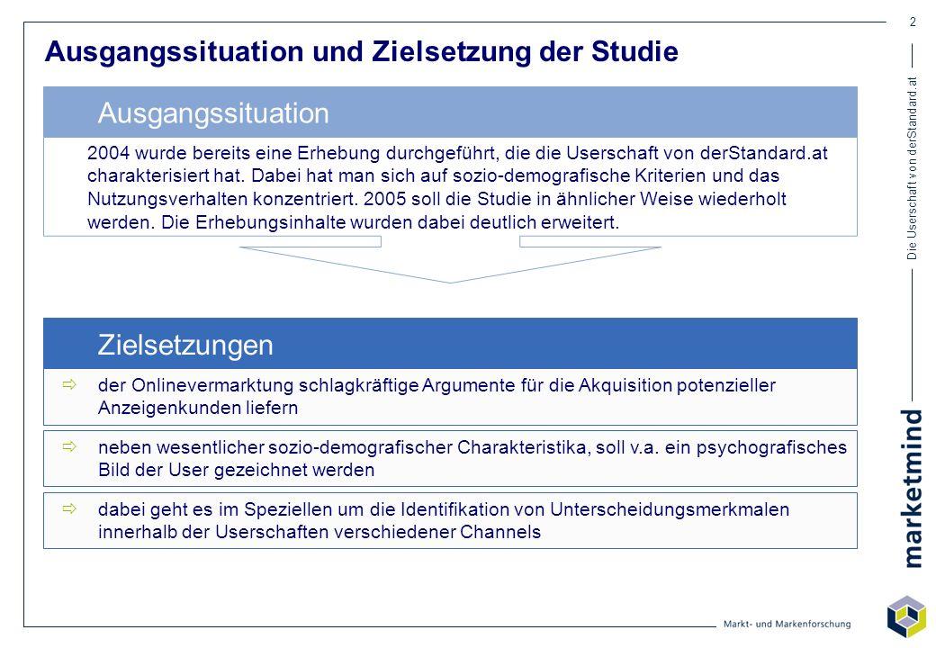 Die Userschaft von derStandard.at 2 Ausgangssituation und Zielsetzung der Studie der Onlinevermarktung schlagkräftige Argumente für die Akquisition po