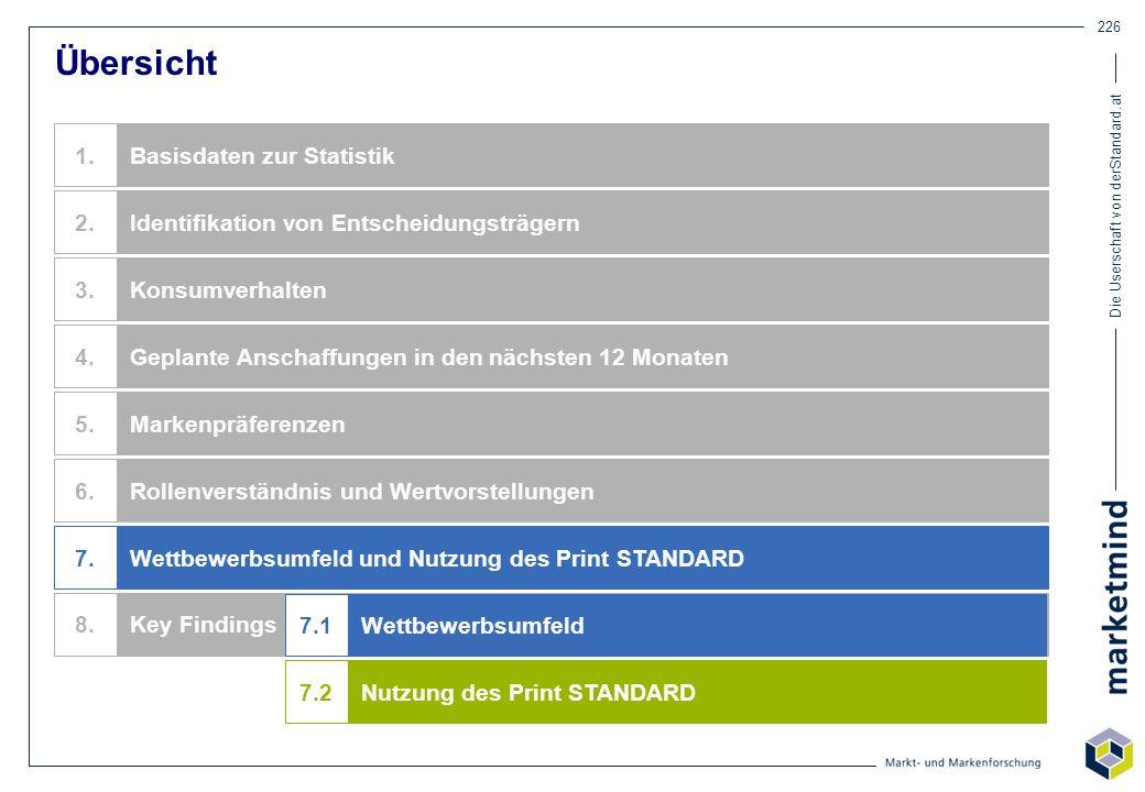 Die Userschaft von derStandard.at 226 Übersicht Identifikation von Entscheidungsträgern Basisdaten zur Statistik Konsumverhalten Geplante Anschaffunge