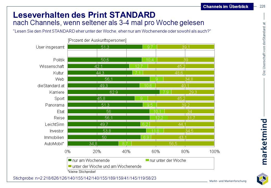 Die Userschaft von derStandard.at 228 Leseverhalten des Print STANDARD nach Channels, wenn seltener als 3-4 mal pro Woche gelesen