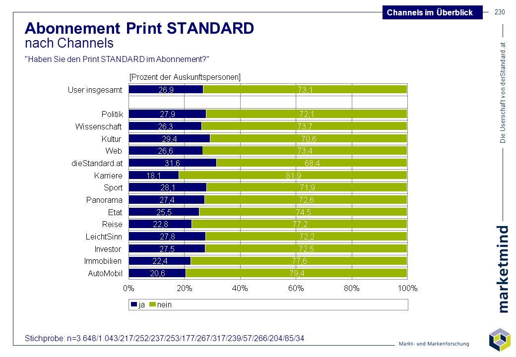 Die Userschaft von derStandard.at 230 Abonnement Print STANDARD nach Channels