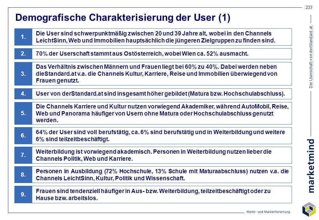 Die Userschaft von derStandard.at 233 Demografische Charakterisierung der User (1) Die User sind schwerpunktmäßig zwischen 20 und 39 Jahre alt, wobei