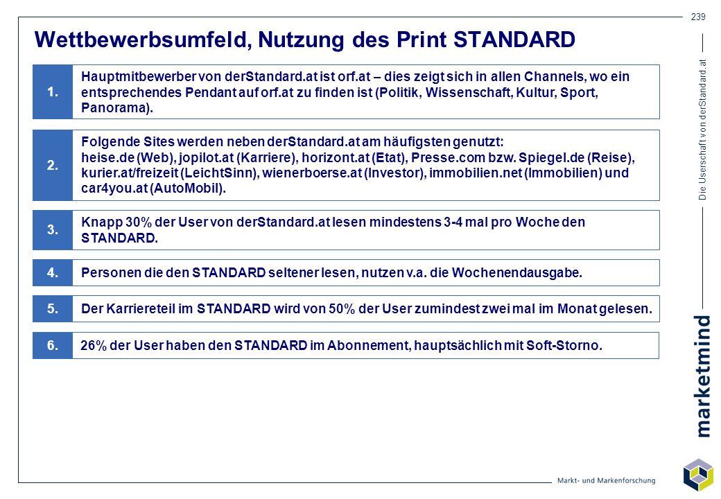 Die Userschaft von derStandard.at 239 Wettbewerbsumfeld, Nutzung des Print STANDARD Hauptmitbewerber von derStandard.at ist orf.at – dies zeigt sich i