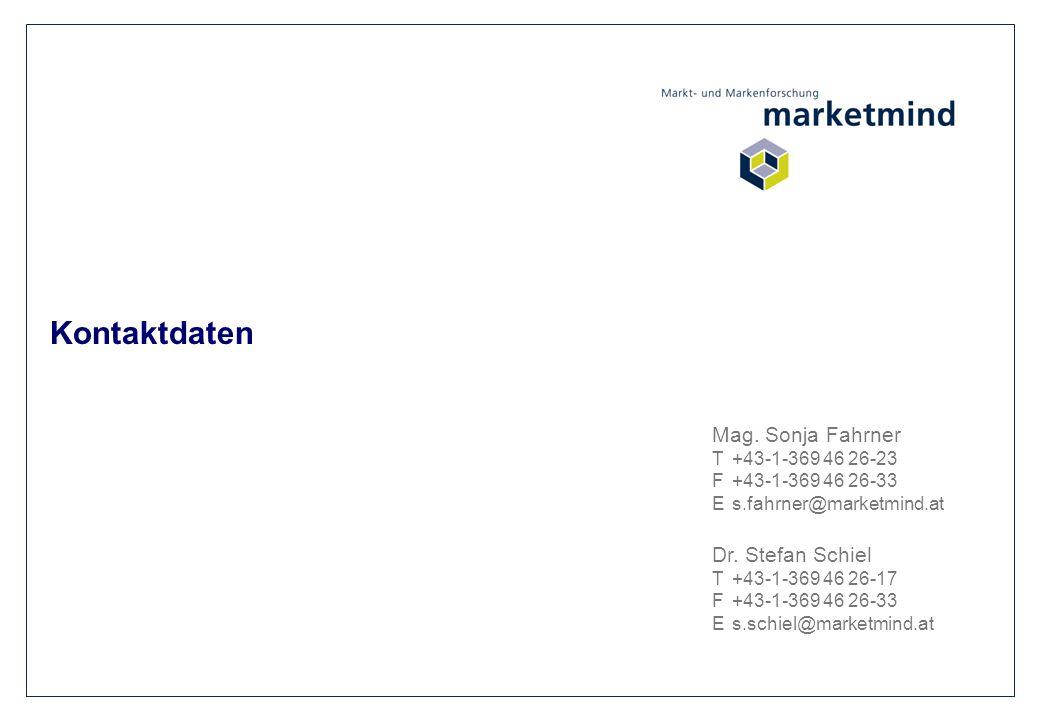 Kontaktdaten Mag. Sonja Fahrner T+43-1-369 46 26-23 F+43-1-369 46 26-33 Es.fahrner@marketmind.at Dr. Stefan Schiel T+43-1-369 46 26-17 F+43-1-369 46 2