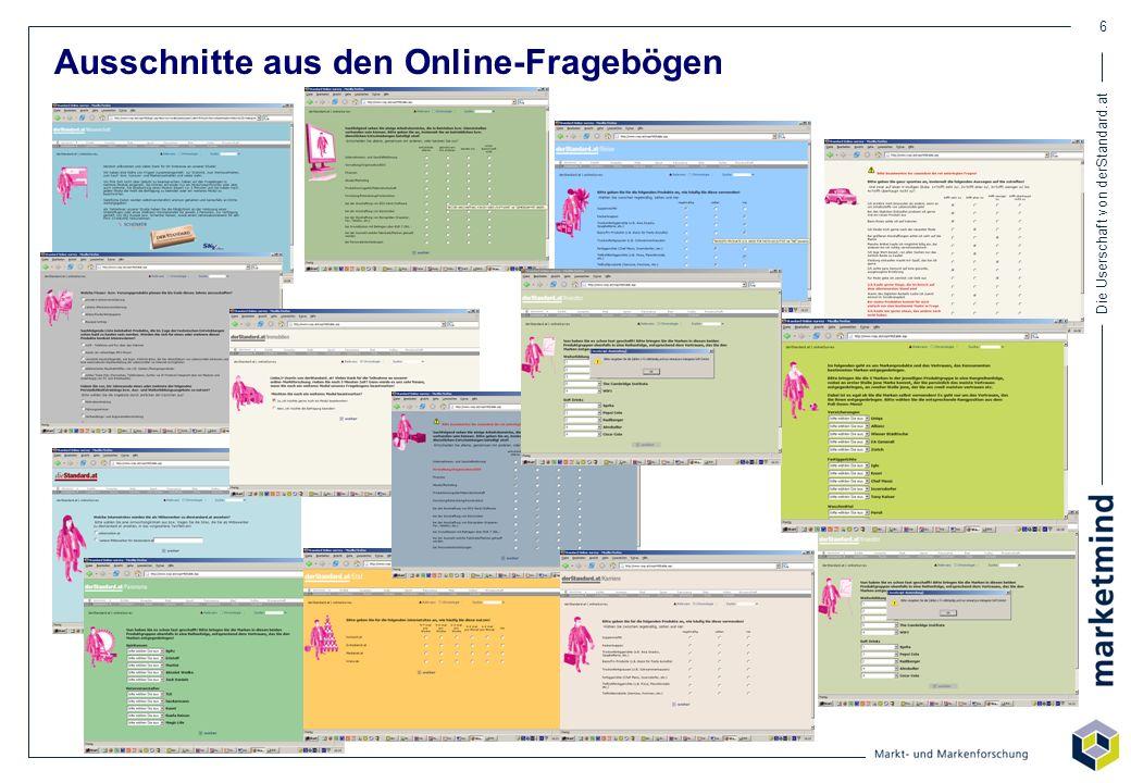 Die Userschaft von derStandard.at 6 Ausschnitte aus den Online-Fragebögen