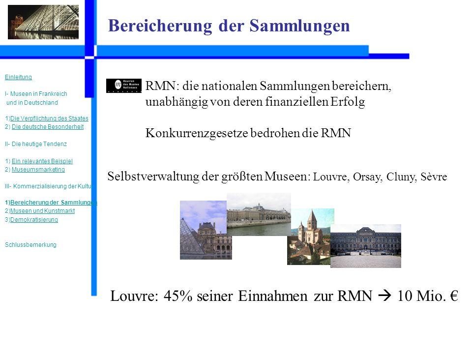 Bereicherung der Sammlungen RMN: die nationalen Sammlungen bereichern, unabhängig von deren finanziellen Erfolg Konkurrenzgesetze bedrohen die RMN Selbstverwaltung der größten Museen: Louvre, Orsay, Cluny, Sèvre Louvre: 45% seiner Einnahmen zur RMN 10 Mio.