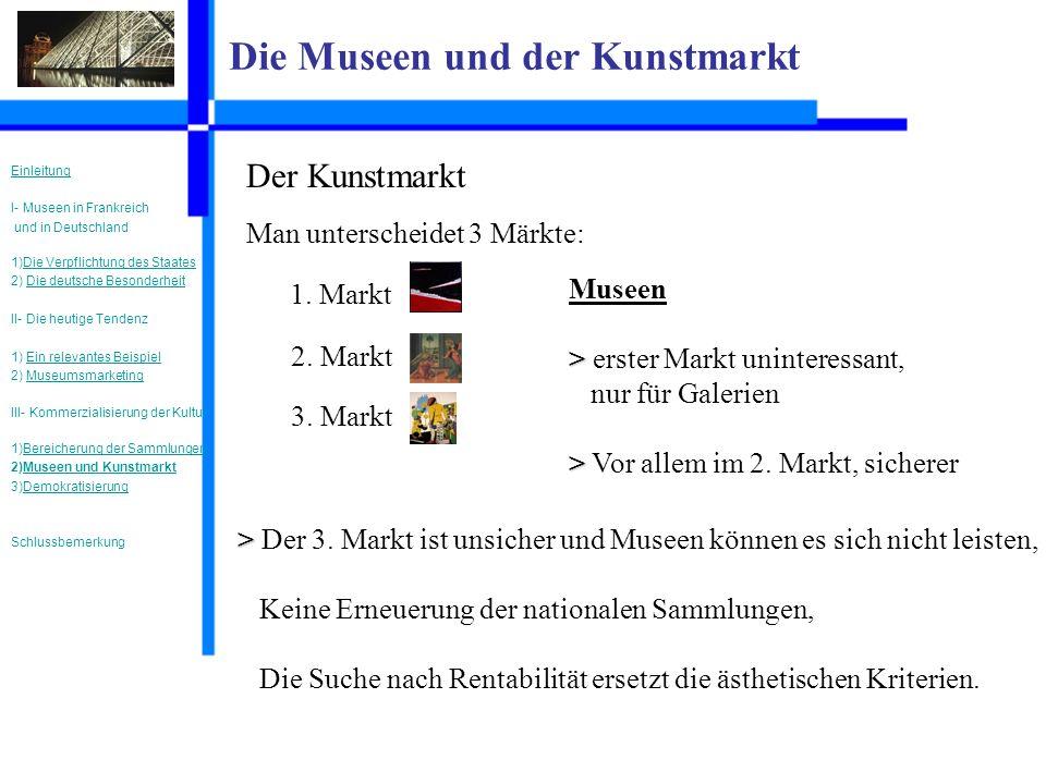 Die Museen und der Kunstmarkt Der Kunstmarkt Man unterscheidet 3 Märkte: 1.