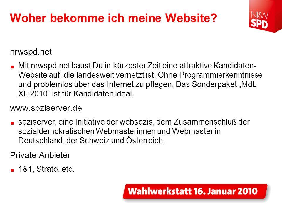 Woher bekomme ich meine Website? nrwspd.net Mit nrwspd.net baust Du in kürzester Zeit eine attraktive Kandidaten- Website auf, die landesweit vernetzt