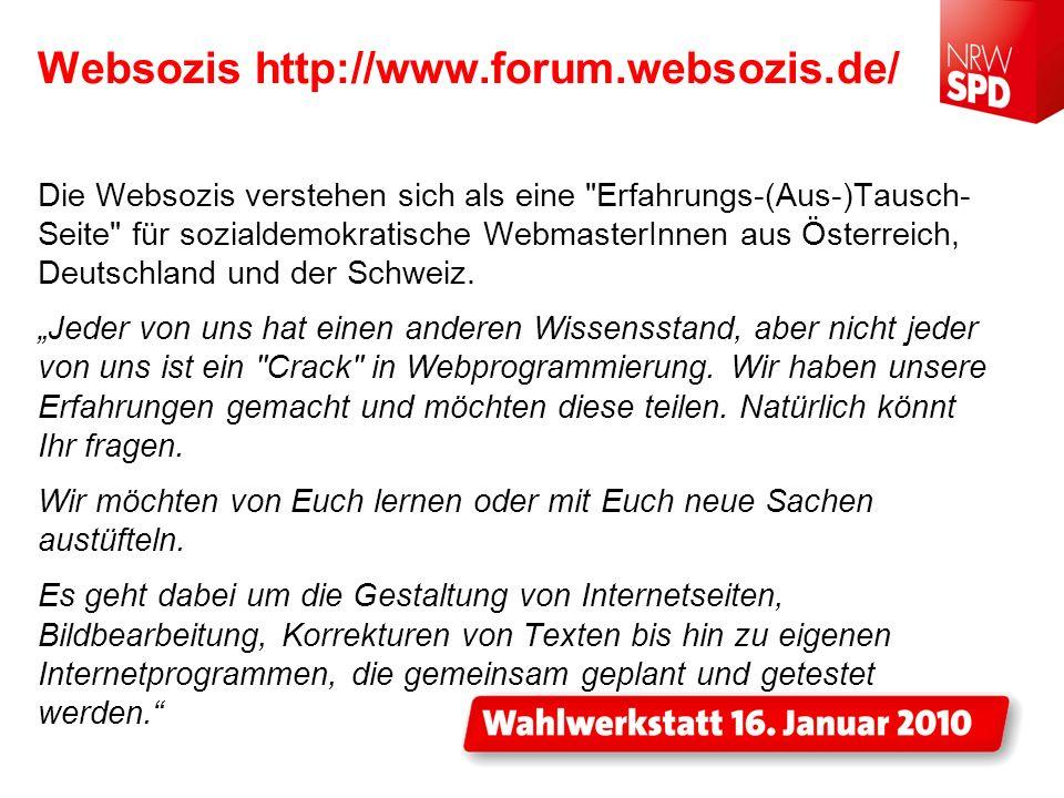 Websozis http://www.forum.websozis.de/ Die Websozis verstehen sich als eine