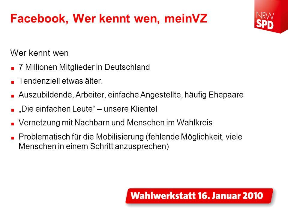 Facebook, Wer kennt wen, meinVZ Wer kennt wen 7 Millionen Mitglieder in Deutschland Tendenziell etwas älter. Auszubildende, Arbeiter, einfache Angeste