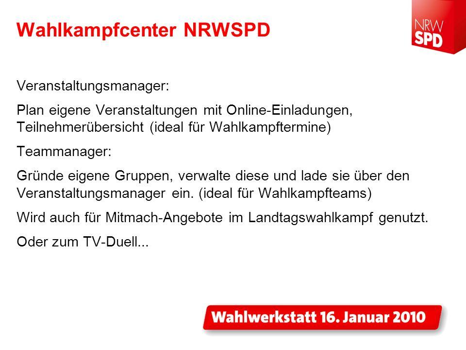 Wahlkampfcenter NRWSPD Veranstaltungsmanager: Plan eigene Veranstaltungen mit Online-Einladungen, Teilnehmerübersicht (ideal für Wahlkampftermine) Tea
