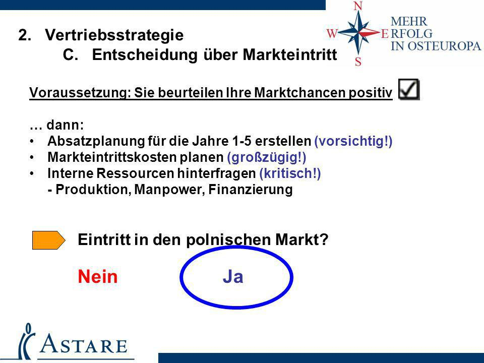 2. Vertriebsstrategie C. Entscheidung über Markteintritt Voraussetzung: Sie beurteilen Ihre Marktchancen positiv … dann: Absatzplanung für die Jahre 1