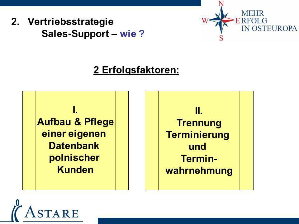 2. Vertriebsstrategie Sales-Support – wie ? I. Aufbau & Pflege einer eigenen Datenbank polnischer Kunden II. Trennung Terminierung und Termin- wahrneh