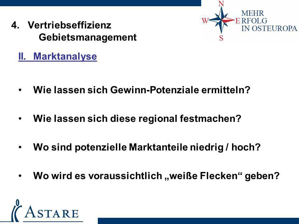 4. Vertriebseffizienz Gebietsmanagement II.Marktanalyse Wie lassen sich Gewinn-Potenziale ermitteln? Wie lassen sich diese regional festmachen? Wo sin