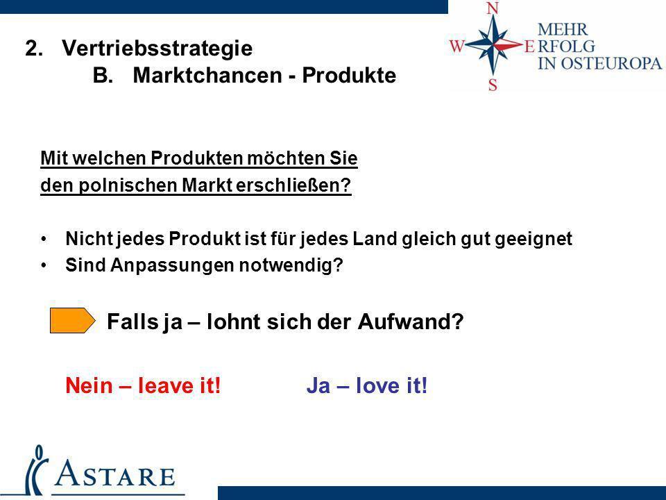 2. Vertriebsstrategie B. Marktchancen - Produkte Mit welchen Produkten möchten Sie den polnischen Markt erschließen? Nicht jedes Produkt ist für jedes