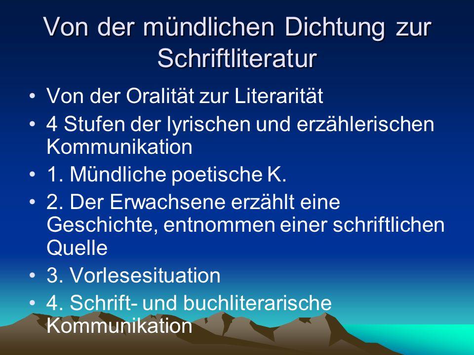 Von der mündlichen Dichtung zur Schriftliteratur Von der Oralität zur Literarität 4 Stufen der lyrischen und erzählerischen Kommunikation 1. Mündliche