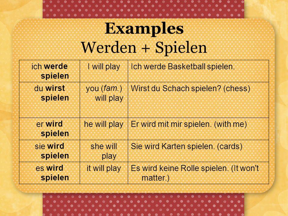 Examples Werden + Spielen ich werde spielen I will playIch werde Basketball spielen. du wirst spielen you (fam.) will play Wirst du Schach spielen? (c