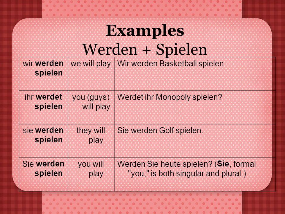 Examples Werden + Spielen wir werden spielen we will playWir werden Basketball spielen. ihr werdet spielen you (guys) will play Werdet ihr Monopoly sp