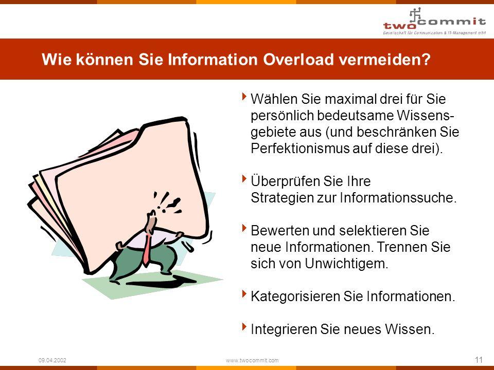 11 09.04.2002 www.twocommit.com Wie können Sie Information Overload vermeiden? Wählen Sie maximal drei für Sie persönlich bedeutsame Wissens- gebiete