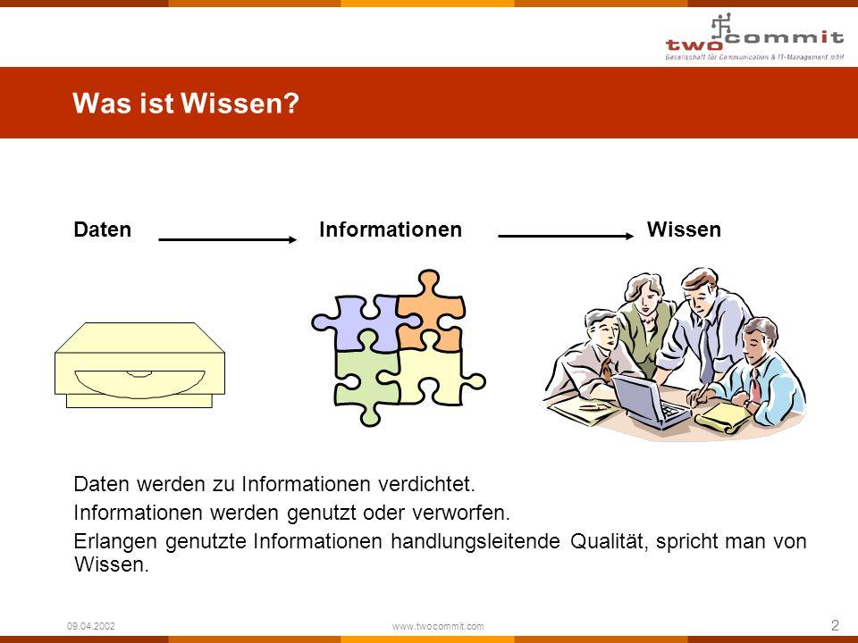 2 09.04.2002 www.twocommit.com Was ist Wissen? Daten InformationenWissen Daten werden zu Informationen verdichtet. Informationen werden genutzt oder v