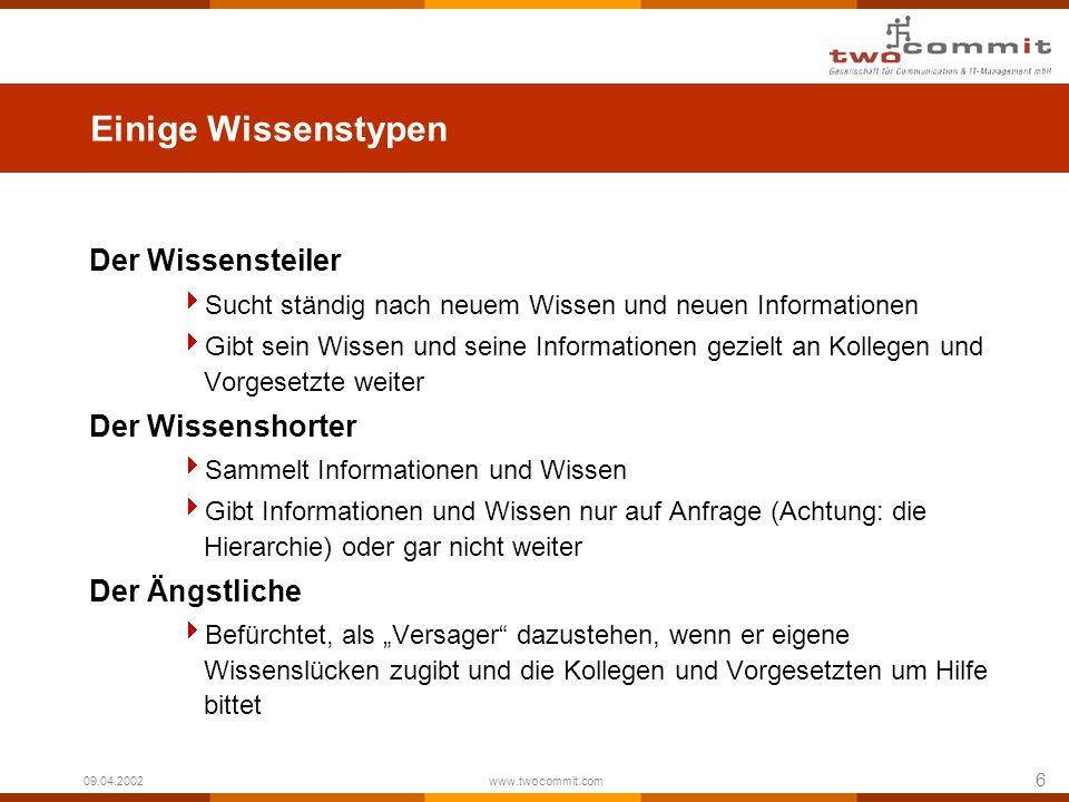 6 09.04.2002 www.twocommit.com Einige Wissenstypen Der Wissensteiler Sucht ständig nach neuem Wissen und neuen Informationen Gibt sein Wissen und sein