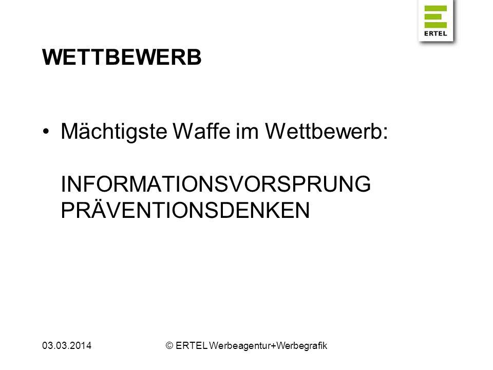 WETTBEWERB Mächtigste Waffe im Wettbewerb: INFORMATIONSVORSPRUNG PRÄVENTIONSDENKEN 03.03.2014© ERTEL Werbeagentur+Werbegrafik
