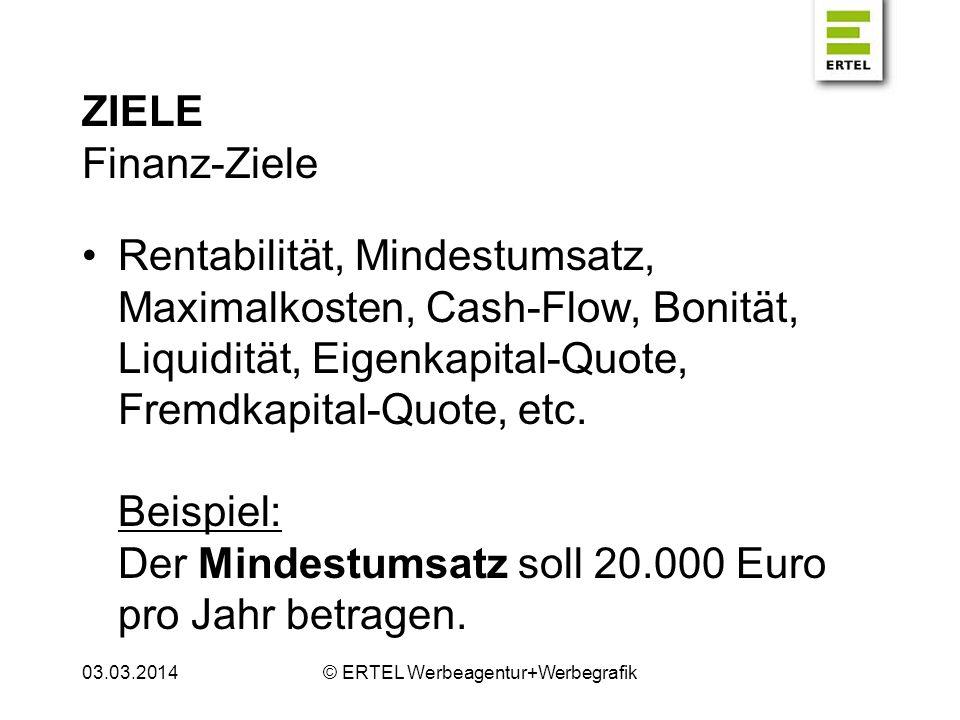 ZIELE Finanz-Ziele Rentabilität, Mindestumsatz, Maximalkosten, Cash-Flow, Bonität, Liquidität, Eigenkapital-Quote, Fremdkapital-Quote, etc. Beispiel: