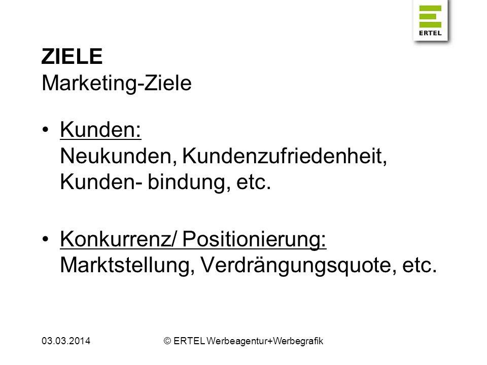 ZIELE Marketing-Ziele Kunden: Neukunden, Kundenzufriedenheit, Kunden- bindung, etc. Konkurrenz/ Positionierung: Marktstellung, Verdrängungsquote, etc.
