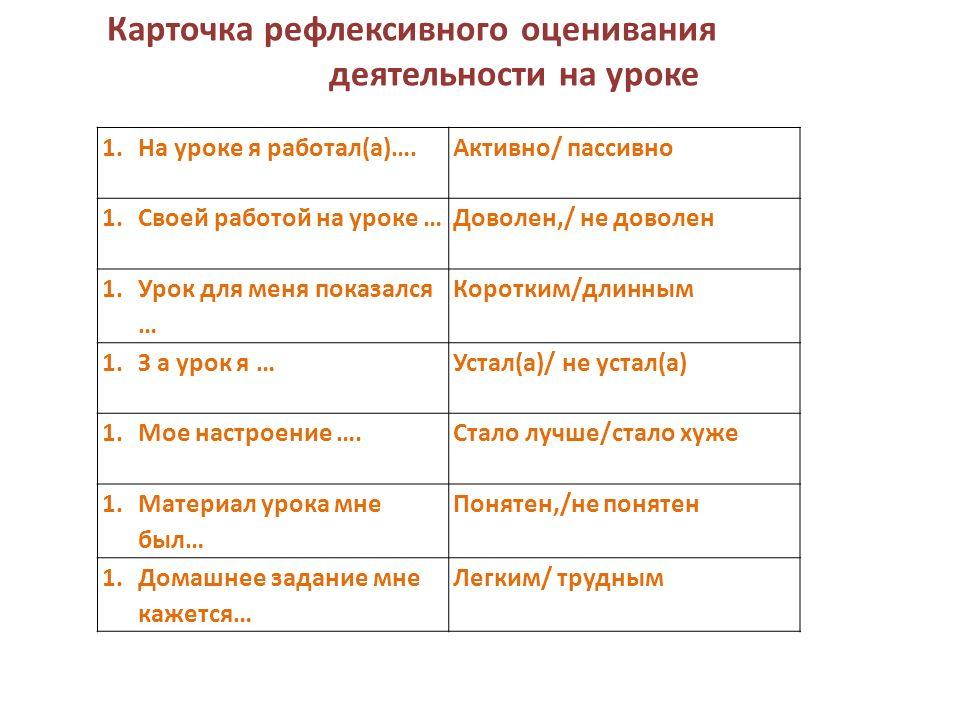 1.На уроке я работал(а)….Активно/ пассивно 1.Своей работой на уроке …Доволен,/ не доволен 1.Урок для меня показался … Коротким/длинным 1.З а урок я …Устал(а)/ не устал(а) 1.Мое настроение ….Стало лучше/стало хуже 1.Материал урока мне был… Понятен,/не понятен 1.Домашнее задание мне кажется… Легким/ трудным Карточка рефлексивного оценивания деятельности на уроке