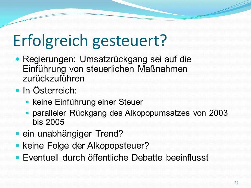 Erfolgreich gesteuert? Regierungen: Umsatzrückgang sei auf die Einführung von steuerlichen Maßnahmen zurückzuführen In Österreich: keine Einführung ei