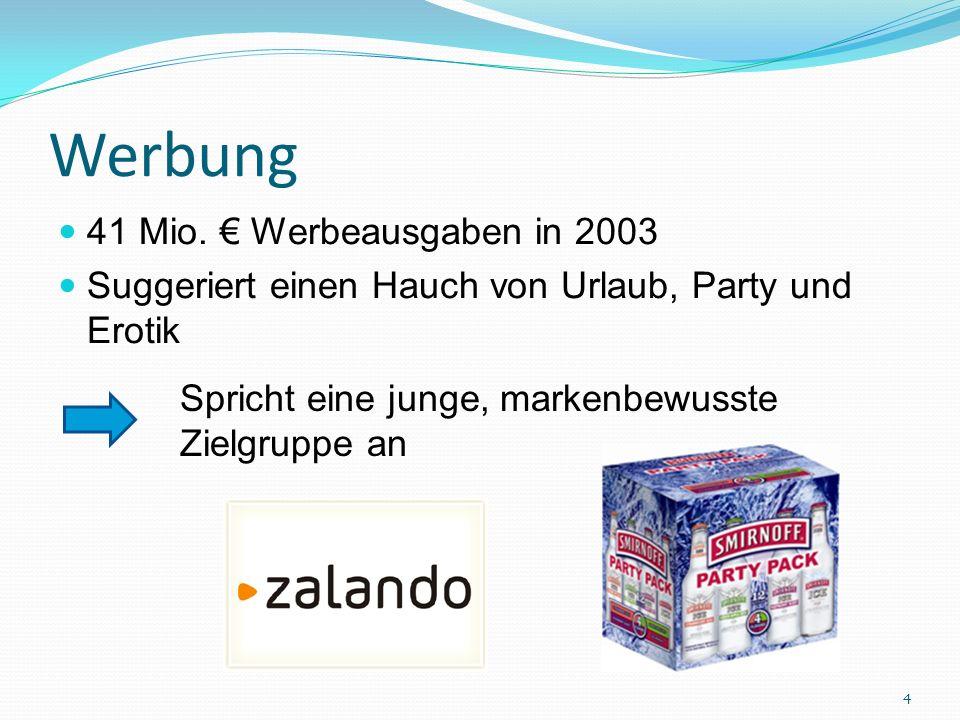 Werbung 41 Mio. Werbeausgaben in 2003 Suggeriert einen Hauch von Urlaub, Party und Erotik Spricht eine junge, markenbewusste Zielgruppe an 4